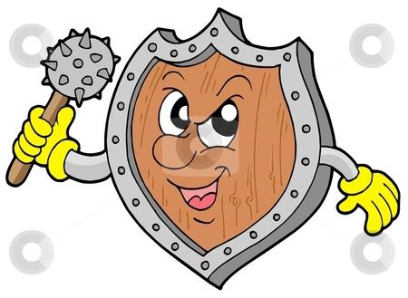 Angry shield warrior stock vector clipart, Angry shield warrior with mace - vector illustration. by Klara Viskova