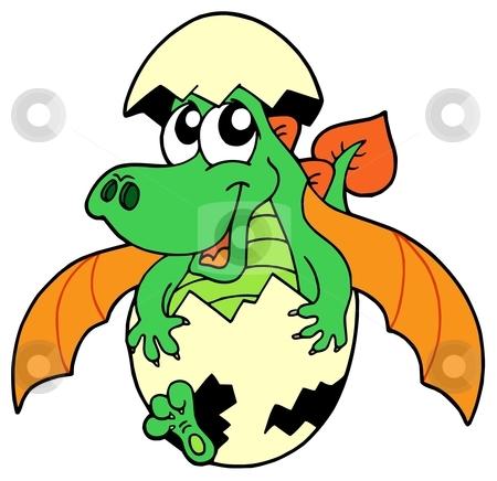 Cute dragon in egg stock vector clipart, Cute dragon in egg - vector illustration. by Klara Viskova