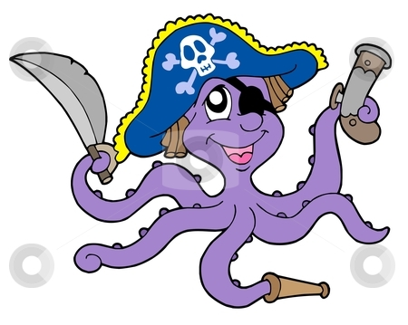 Pirate octopus with sabre stock vector clipart, Pirate octopus with sabre - vector illustration. by Klara Viskova