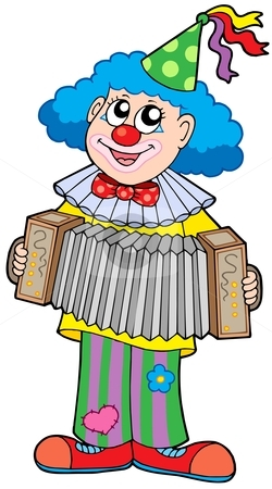 Clown with accordion stock vector clipart, Clown with accordion - vector illustration. by Klara Viskova
