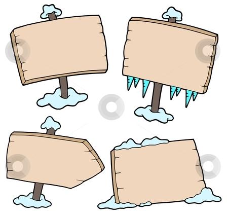 Winter wooden signs stock vector clipart, Winter wooden signs - vector illustration. by Klara Viskova