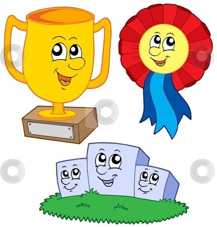 Cartoon trophies collection stock vector clipart, Cartoon trophies collection - vector illustration. by Klara Viskova