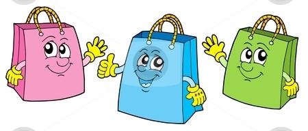 Smiling shopping bags vector illustration. stock vector clipart, Smiling shopping bags - vector illustration. by Klara Viskova