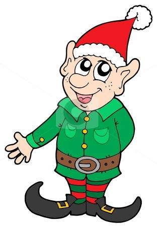 Christmas elf stock vector clipart, Cute Christmas elf - vector illustration. by Klara Viskova