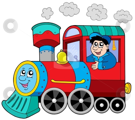 Steam locomotive with engine driver stock vector clipart, Steam locomotive with engine driver - vector illustration. by Klara Viskova