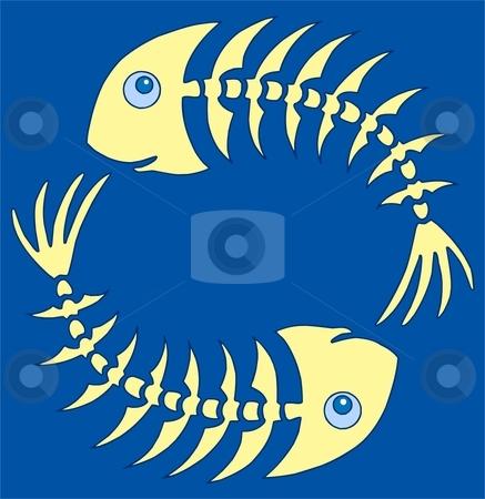 Pair of yellow fishbones on blue stock vector clipart, Pair of yellow fishbones on blue - vector illustration. by Klara Viskova