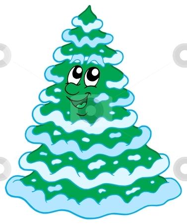 Christmas snowy tree stock vector clipart, Christmas snowy tree - vector illustration. by Klara Viskova