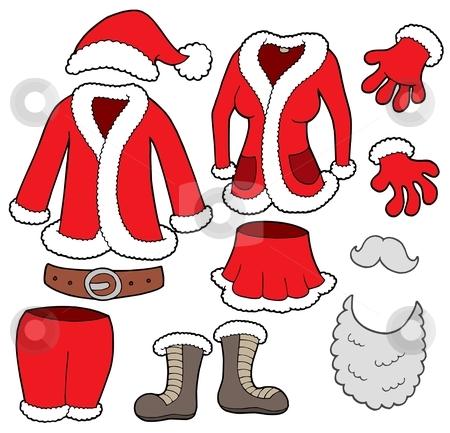 Santa Clauses clothes collection stock vector clipart, Santa Clauses clothes collection - vector illustration. by Klara Viskova