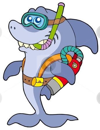 Shark scuba diver stock vector clipart, Shark scuba diver - vector illustration. by Klara Viskova