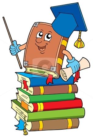Book teacher on pile of books stock vector clipart, Book teacher on pile of books - vector illustration. by Klara Viskova