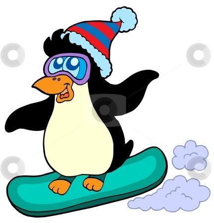 Snowboarding penguin stock vector