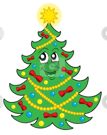 Smiling Christmas tree with ribbons vector illustration stock vector clipart, Smiling Christmas tree with ribbons - vector illustration. by Klara Viskova