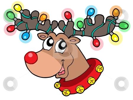 Cute reindeer in Christmas lights stock vector clipart, Cute reindeer in Christmas lights - vector illustration. by Klara Viskova