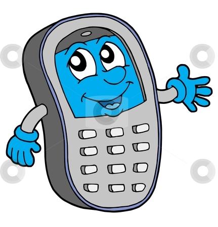 Cell phone vector illustration stock vector clipart, Grey cell phone with blue display - vector illustration. by Klara Viskova