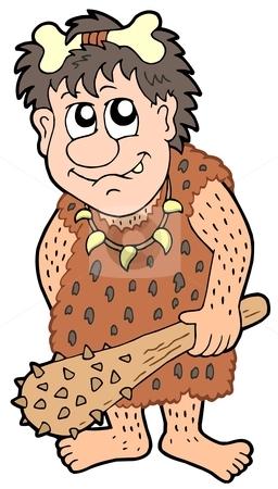 Cartoon prehistoric man stock vector clipart, Cartoon prehistoric man - vector illustration. by Klara Viskova