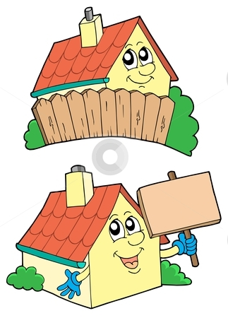 Pair of cute houses stock vector clipart, Pair of cute houses - vector illustration. by Klara Viskova