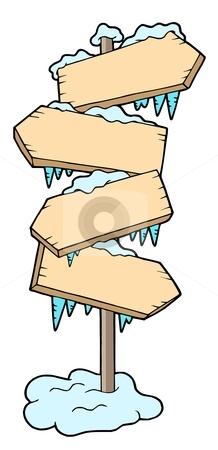 Frozen wood sign stock vector clipart, Frozen wood sign - vector illustration. by Klara Viskova