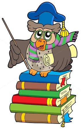 Owl teacher with parchment on books stock vector clipart, Owl teacher with parchment on books - vector illustration. by Klara Viskova