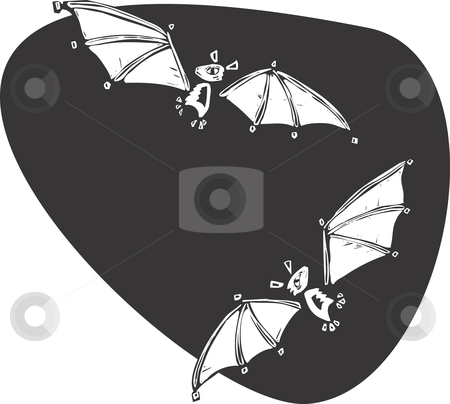 Bats stock vector clipart, Two bats flying together in the night. by Jeffrey Thompson