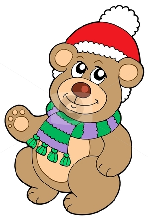 Christmas teddy bear stock vector clipart, Christmas teddy bear - vector illustration. by Klara Viskova