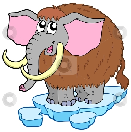 Cartoon mammoth stock vector clipart, Cartoon mammoth on white background - vector illustration. by Klara Viskova