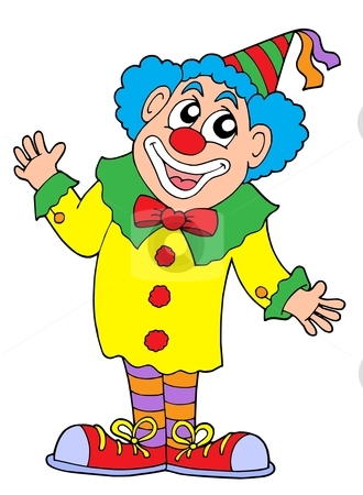 Clown vector illustration stock vector clipart, Clown in colorful outfit - vector illustration. by Klara Viskova