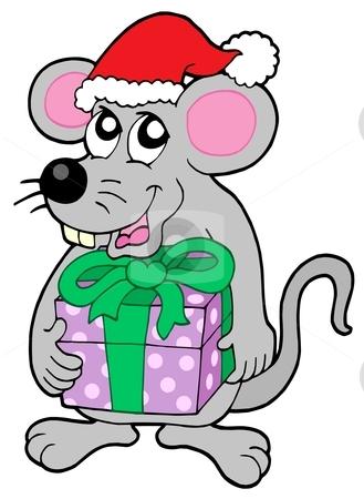 Christmas mouse with gift stock vector clipart, Christmas mouse with gift - vector illustration. by Klara Viskova