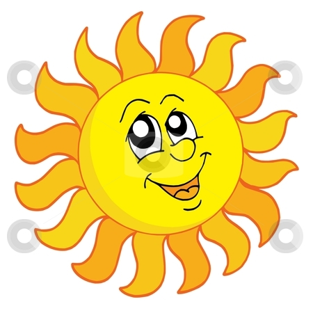 Happy Sun vector illustration stock vector clipart, Happy Sun on white background - vector illustration. by Klara Viskova