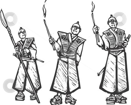 Three samurai stock vector clipart, Three samurai holding torches keep watch on their castle. by Jeffrey Thompson