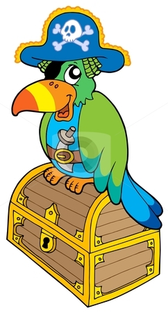 Pirate parrot sitting on chest stock vector clipart, Pirate parrot sitting on chest -  vector illustration. by Klara Viskova
