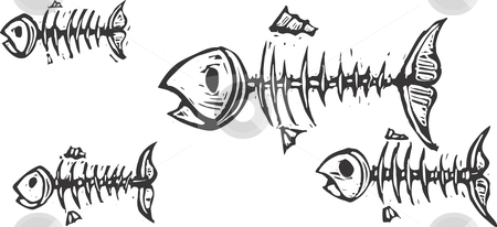 Fish Bones stock vector clipart, Ghosts and skeletons of fish swimming together. by Jeffrey Thompson