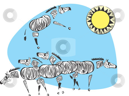 Zebras stock vector clipart, A herd of zebras beneath the african sun. by Jeffrey Thompson