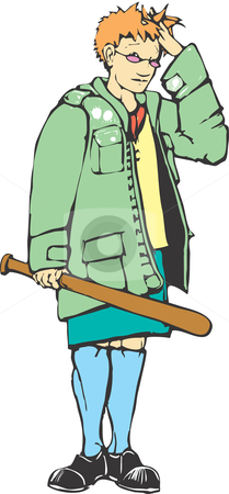 Mod Girl stock vector clipart, Mod girl with a baseball bat looks embarrassed. by Jeffrey Thompson
