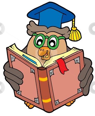 Owl teacher reading book 1b stock vector clipart, Owl teacher reading book 1b - vector illustration. by Klara Viskova