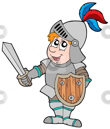 Cartoon knight stock vector clipart, Cartoon knight on white background - vector illustration. by Klara Viskova