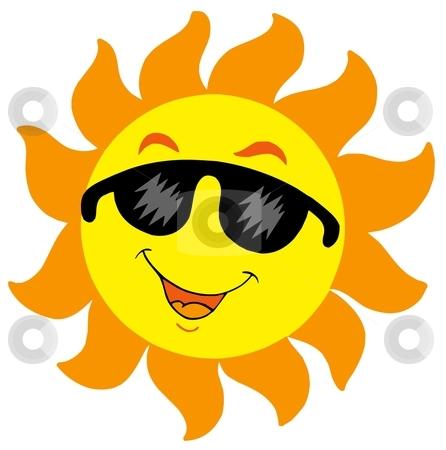 Cartoon Sun with sunglasses stock vector clipart, Cartoon Sun with sunglasses - vector illustration. by Klara Viskova