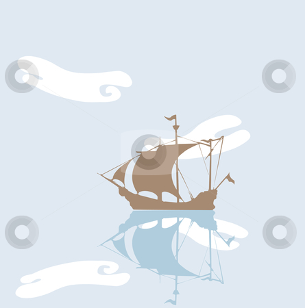 Tranquil Pirate stock vector clipart, Pirate ship at anchor on a very still day. by Jeffrey Thompson