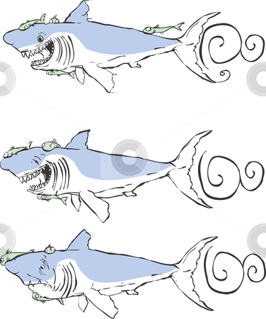 Sharks stock vector clipart, Three great white sharks with different expressions. by Jeffrey Thompson