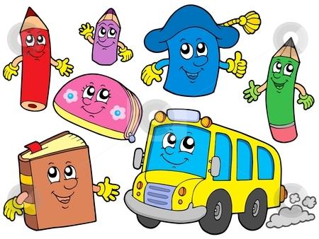 Cute school illustrations collection stock vector clipart, Cute school illustrations collection - vector illustration. by Klara Viskova