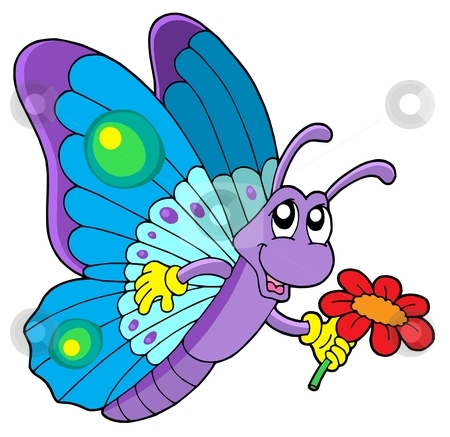 Cute butterfly holding flower stock vector clipart, Cute butterfly holding flower - vector illustration. by Klara Viskova