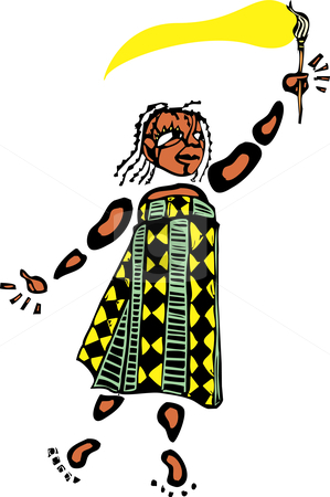 Girl with Paintbrush 1 stock vector clipart, Girl in an african patterned dress holds a paintbrush. by Jeffrey Thompson