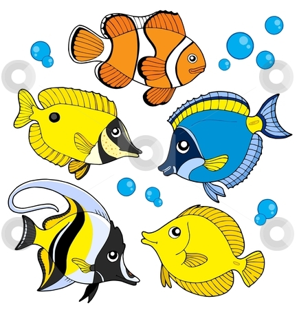Coral fish collection stock vector