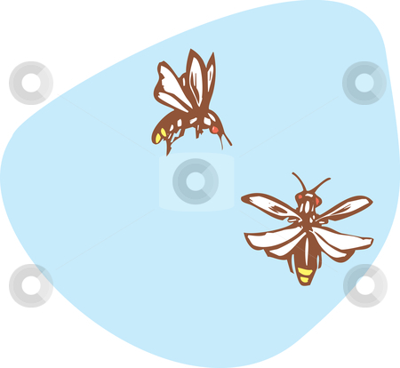 Two fireflies  stock vector clipart, Two fireflies flying together in the early evening. by Jeffrey Thompson