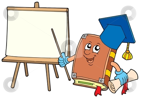 Book teacher with tablet stock vector clipart, Book teacher with tablet - vector illustration. by Klara Viskova