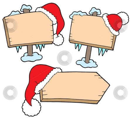 Christmas Wooden Signs With Caps Stock Vector
