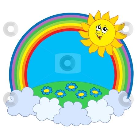 Sun and meadow in rainbow stock vector clipart, Sun and meadow in rainbow - vector illustration. by Klara Viskova