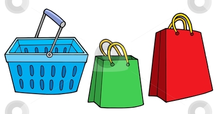 Shopping basket and bags vector illustration stock vector clipart, Shopping basket and bags - vector illustration. by Klara Viskova