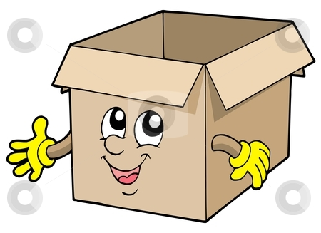 Open cute cardboard box stock vector clipart, Open cute cardboard box - vector illustration. by Klara Viskova