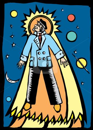 Dead Captain stock vector clipart, Man in a captain's suit soars towards heaven. by Jeffrey Thompson