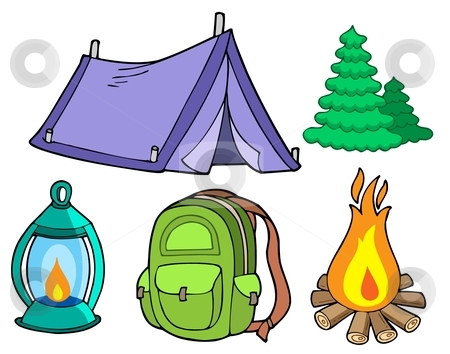 Collection of camping images stock vector clipart, Collection of camping images - vector illustration. by Klara Viskova